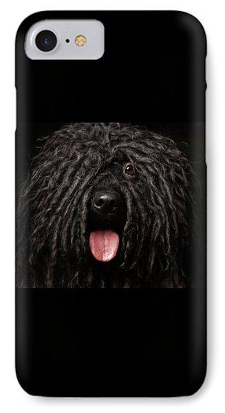 Close Up Portrait Of Puli Dog Isolated On Black IPhone 7 Case