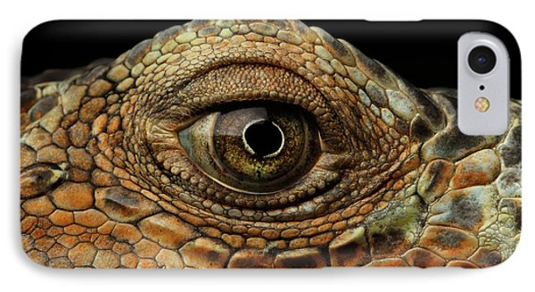 Closeup Eye Of Green Iguana, Looks Like A Dragon IPhone Case by Sergey Taran