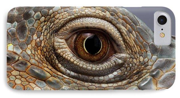 Closeup Eye Of Green Iguana IPhone Case by Sergey Taran