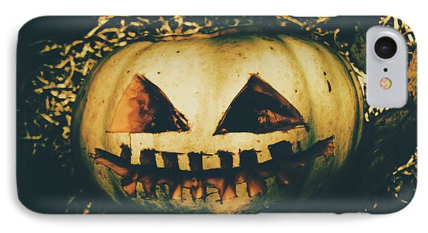 Closeup Of Halloween Pumpkin With Scary Face IPhone Case