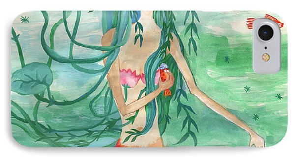 Closeup Of Lily Pond Mermaid With Goldfish Snack Phone Case by Sushila Burgess