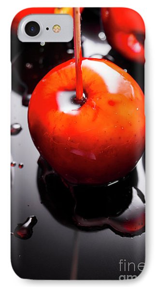 Closeup Of Red Candy Apple On Stick IPhone Case by Jorgo Photography - Wall Art Gallery