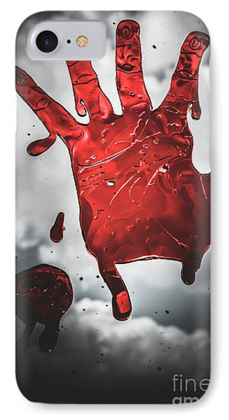Closeup Of Scary Bloody Hand Print On Glass IPhone Case by Jorgo Photography - Wall Art Gallery