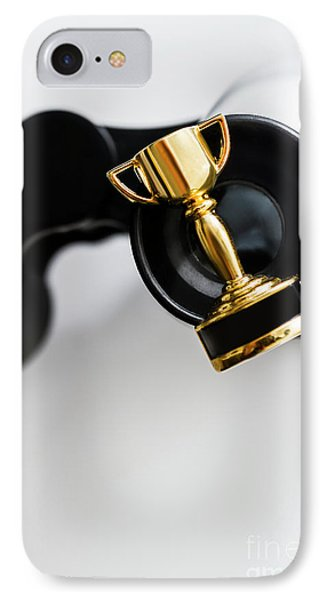 Closeup Of Small Trophy And Binoculars On White Background IPhone Case