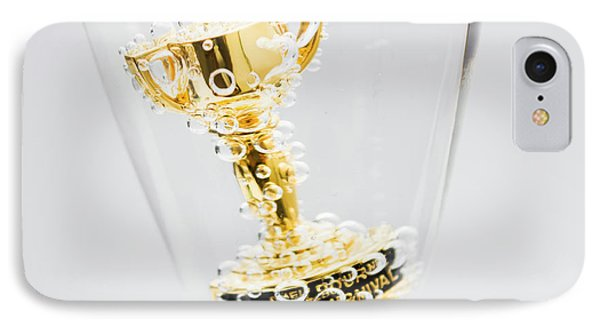 Closeup Of Small Trophy In Champagne Flute. Gold Colored Award I IPhone Case