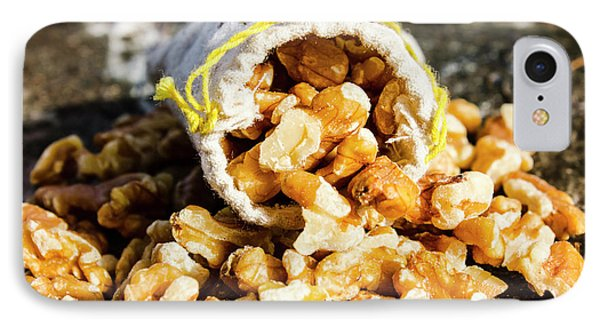 Closeup Of Walnuts Spilling From Small Bag IPhone Case by Jorgo Photography - Wall Art Gallery
