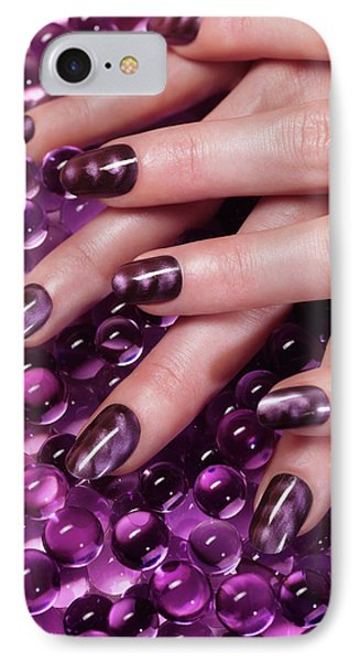 Closeup Of Woman Hands With Purple Nail Polish Phone Case by Oleksiy Maksymenko