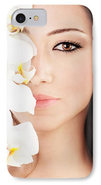Closeup On Beautiful Face With Flowers Phone Case by Anna Om