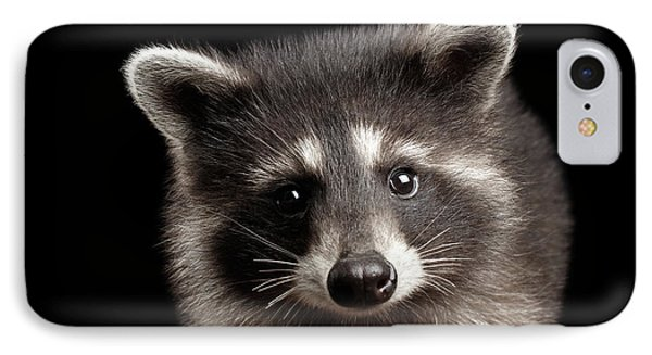 Closeup Portrait Cute Baby Raccoon Isolated On Black Background IPhone Case by Sergey Taran