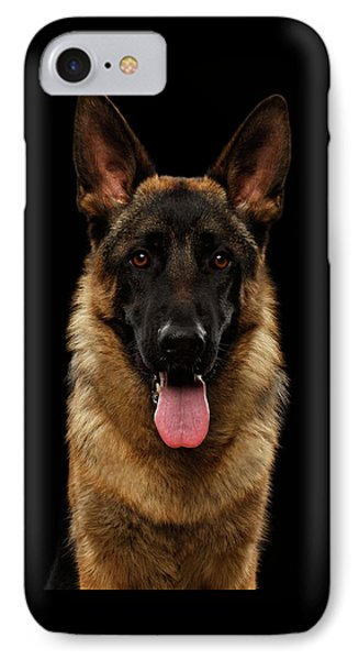 Closeup Portrait Of German Shepherd On Black  IPhone Case