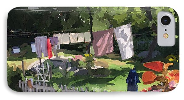 Clothesline And Coleus In An East Gloucester  Ma Garden  IPhone Case