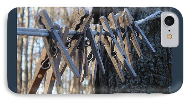 Clothespins IPhone Case by Patricia Overmoyer