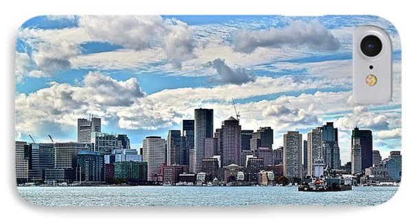 Cloud Covered Boston Harbor IPhone Case by Frozen in Time Fine Art Photography