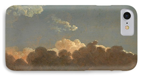 IPhone Case featuring the painting Cloud Study. Distant Storm by Simon Denis