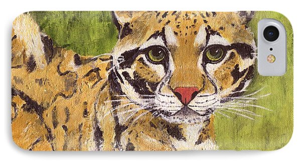 IPhone Case featuring the painting Clouded Cat by Jamie Frier