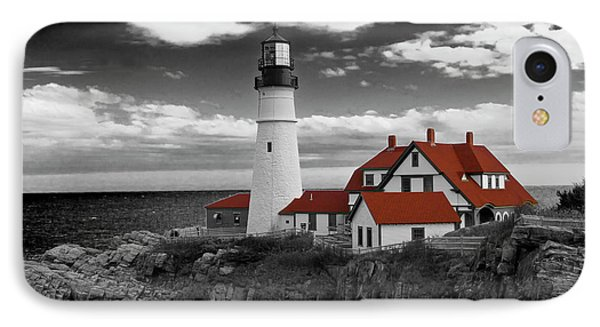 Clouds Over Portland Head Lighthouse 3 - Bw IPhone Case by Lou Ford