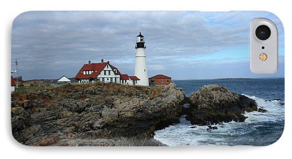 Clouds Over Portland Head Lighthouse IPhone Case by Lou Ford