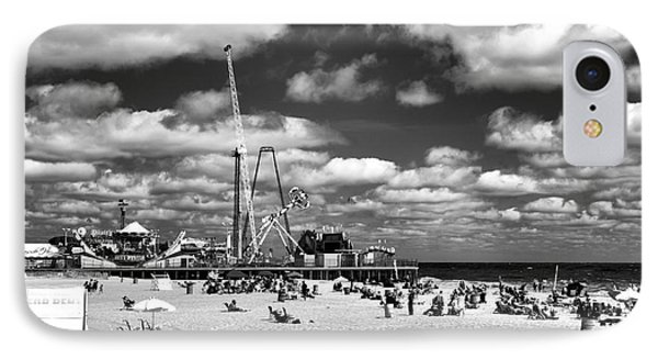 Clouds Over Seaside Heights Mono IPhone Case by John Rizzuto