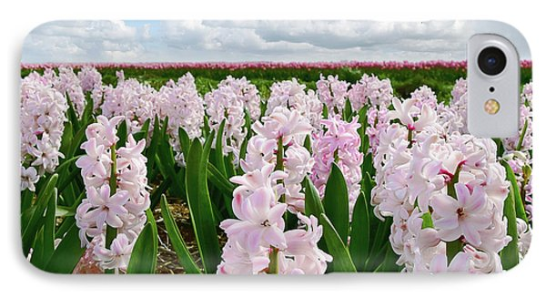 Clouds Over The Pink Hyacinth Field IPhone Case by Mihaela Pater