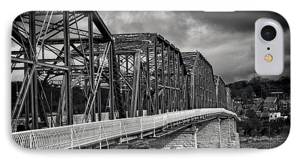 IPhone Case featuring the photograph Clouds Over Walnut Street Bridge In Black And White by Greg Mimbs