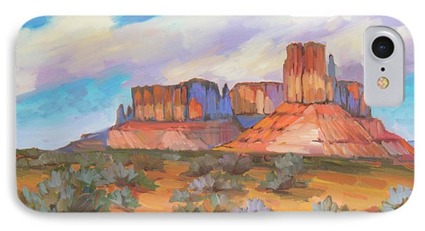 IPhone Case featuring the painting Clouds Passing Monument Valley by Diane McClary