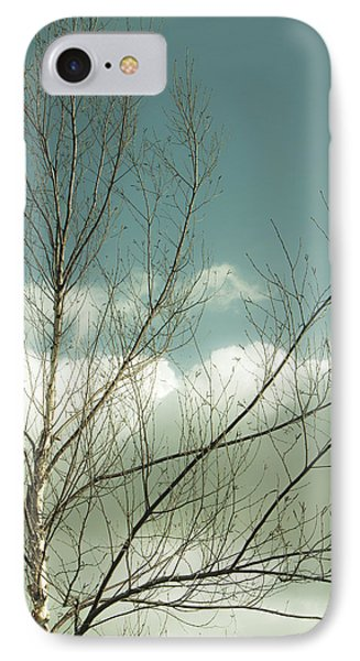 IPhone Case featuring the photograph Cloudy Blue Sky Through Tree Top No 1 by Ben and Raisa Gertsberg
