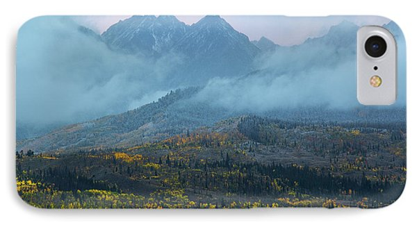 IPhone 7 Case featuring the photograph Cloudy Peaks by Aaron Spong
