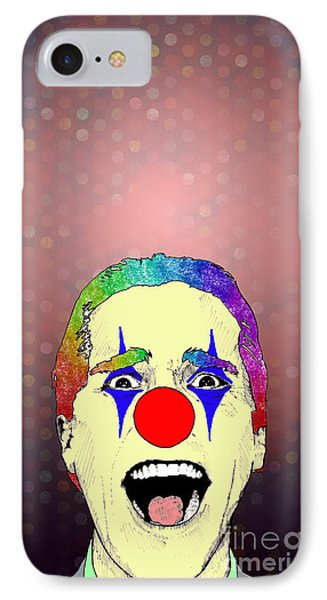 IPhone Case featuring the drawing clown Christian Bale by Jason Tricktop Matthews