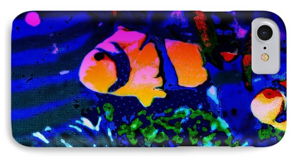 IPhone Case featuring the painting Colorful Reef Artwork Clownfish by David Mckinney