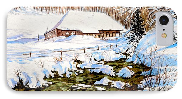 IPhone Case featuring the painting Clubhouse In Winter by Sher Nasser