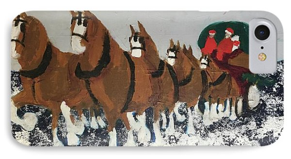 IPhone Case featuring the painting Clydsdale Horses Bringing Home The Tree by Donald J Ryker III