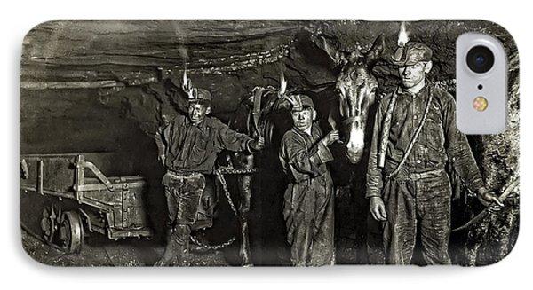 Coal Mine Mule Drivers  1908 Phone Case by Daniel Hagerman