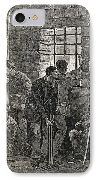 Coal Miners Waiting To Go On Their IPhone Case by Vintage Design Pics