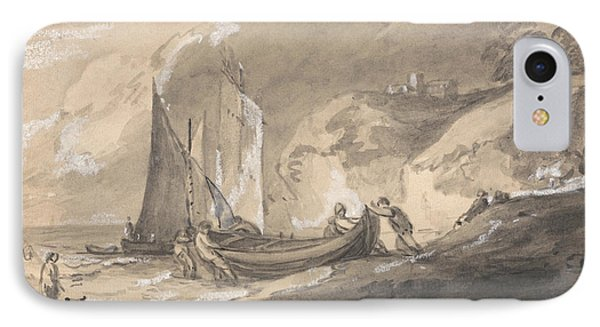 Coastal Scene With Figures And Boats  IPhone Case by Thomas Gainsborough