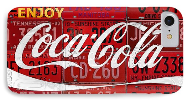 Coca Cola Enjoy Soft Drink Soda Pop Beverage Vintage Logo Recycled License Plate Art IPhone Case by Design Turnpike
