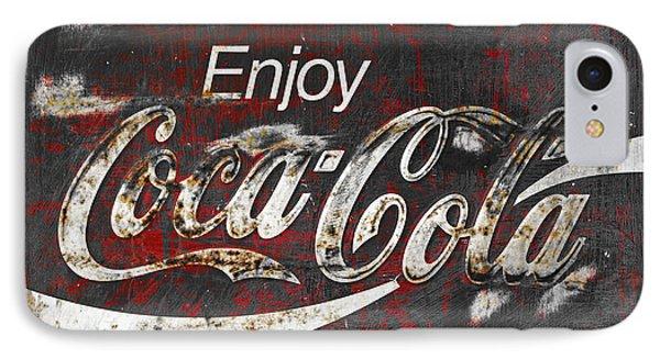Coca Cola Grunge Sign Phone Case by John Stephens