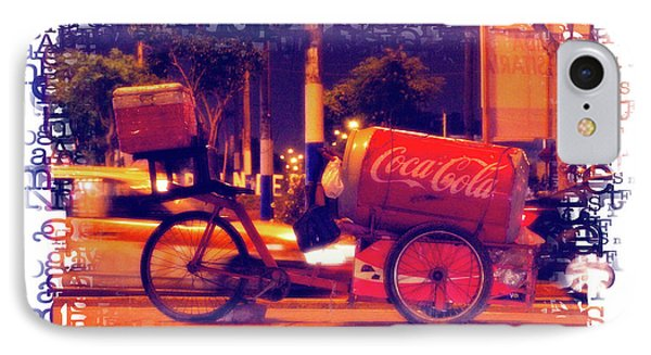 IPhone Case featuring the photograph Coca Cola Tricycle Bin - Lima by Mary Machare