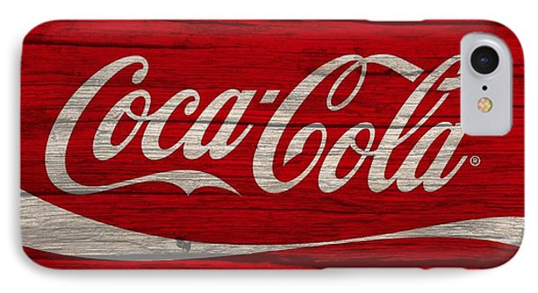 Coca Cola Worn Wood Sign IPhone Case by Dan Sproul