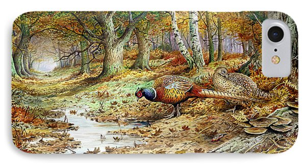 Pheasant iPhone 7 Case - Cock Pheasant And Sulphur Tuft Fungi by Carl Donner