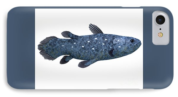Coelacanth Fish On White Phone Case by Corey Ford