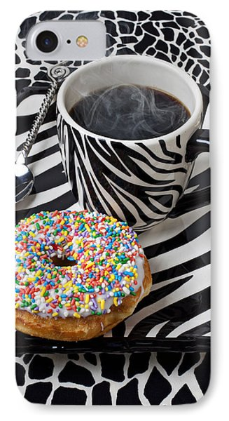 Coffee And Donut On Striped Plate Phone Case by Garry Gay
