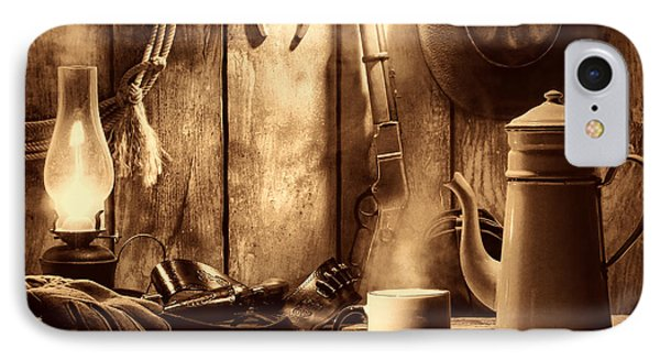 Coffee At The Cabin IPhone Case by American West Legend By Olivier Le Queinec