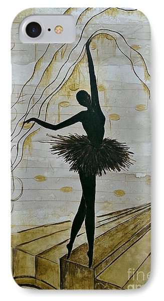 IPhone Case featuring the painting Coffee Ballerina by AmaS Art