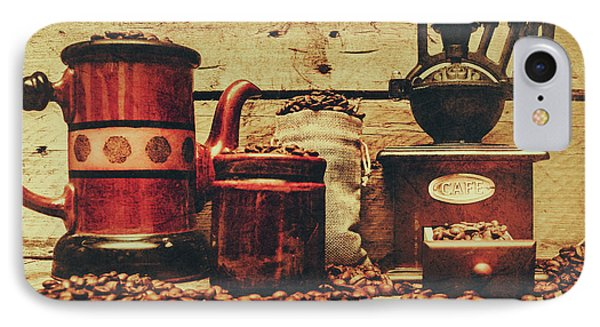 Coffee Bean Grinder Beside Old Pot IPhone Case by Jorgo Photography - Wall Art Gallery