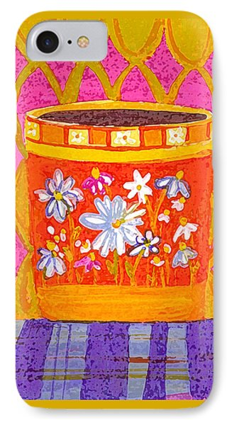 Coffee Cup - Floral Eclectic Design - Funky Colors Illustration IPhone Case by Patricia Awapara