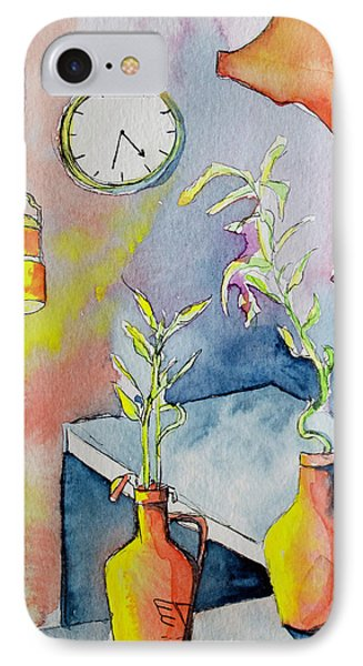 Coffee House Counter With Plants And Clock IPhone Case by Melissa Brazeau