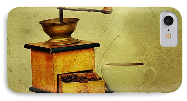 Coffee Mill And Cup Of Hot Black Coffee IPhone Case