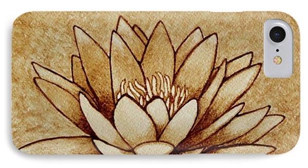 Coffee Painting Water Lilly Blooming Phone Case by Georgeta  Blanaru