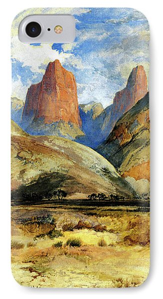 IPhone Case featuring the painting Colburns Butte South Utah by Thomas Moran