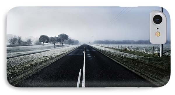 Cold Blue Winter Road IPhone Case by Jorgo Photography - Wall Art Gallery